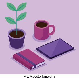 tablet with book and houseplant bundle of isometric workspace set icons