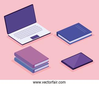 books and laptop isometric workspace set icons