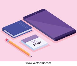 tablet with calendar and book isometric workspace set icons