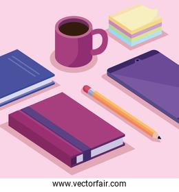 tablet with books and coffee cup isometric workspace set icons