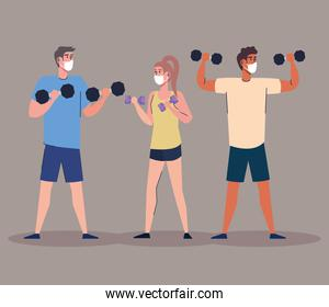 group of athletes lifting dumbells characters
