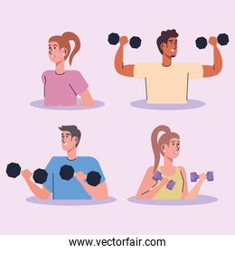 group of athletes lifting dumbells stronge characters