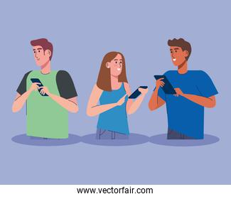 interracial three persons using technology