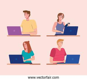 young four persons using laptops technology