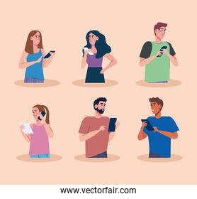 young six persons using smartphones technology
