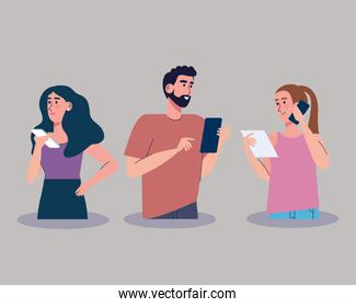 young three persons using smartphones characters
