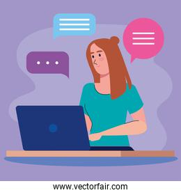 young woman using laptop and speech bubbles