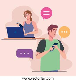 young couple using smartphone and laptop characters