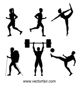 bundle of six athletes practicing sports black silhouettes