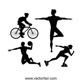 bundle of four athletes practicing sports black silhouettes