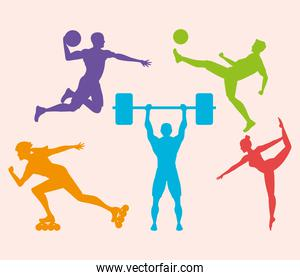 bundle of five athletes practicing sports colorful silhouettes