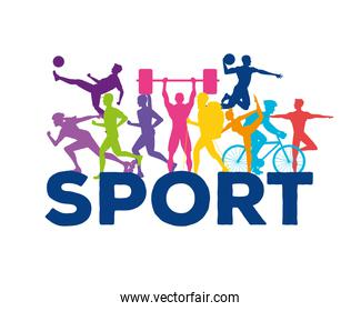 bundle of ten athletes practicing sports colorful silhouettes