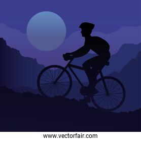 athlete riding bike sport silhouette in the mountain