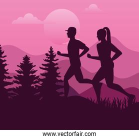 couple athletes running sport silhouettes in the camp