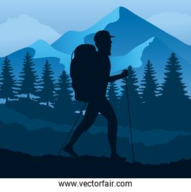 athlete practicing hike sport silhouette in the camp