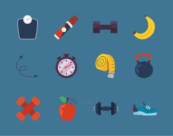 Fitness icon collection vector design