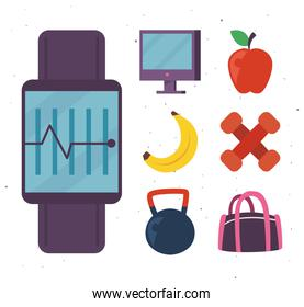 Fitness smartwatch with icon collection vector design