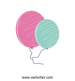 balloons party celebration and decoration cartoon icon isolated style