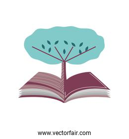 open book with tree nature literature cartoon icon isolated style