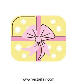 gift box with bow ribbon top view cartoon isolated style