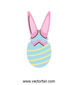 happy easter egg with rabbit ears cartoon isolated style