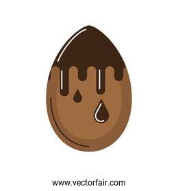 happy easter melted chocolate egg cartoon isolated style