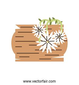 flowers in basket decoration cartoon isolated style