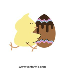 happy easter cute chicken with chocolate egg cartoon isolated style