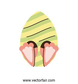 happy easter egg with rabbit legs decoration cartoon isolated style