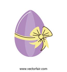 happy easter purple egg with bow decoration cartoon isolated style
