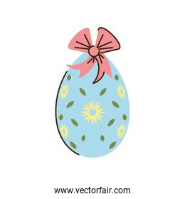 happy easter decorative egg with bow and flowers cartoon isolated style