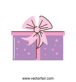 wrapped gift box bow ribbon cartoon isolated style