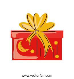 wrap gift box with ribbon cartoon isolated style
