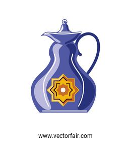 traditional antique decorated teapot cartoon isolated style