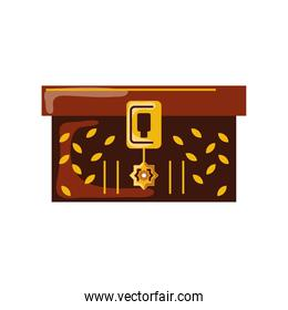 wooden chest antique cartoon isolated style