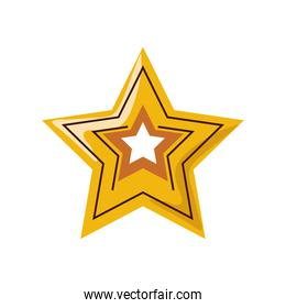 gold star decoration ornament cartoon isolated style