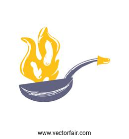 frying pan flame cooking sketch isolated style