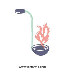 ladle with flame utensil cooking sketch isolated style