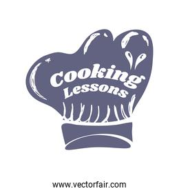 cooking lesson chef hat sketch isolated style