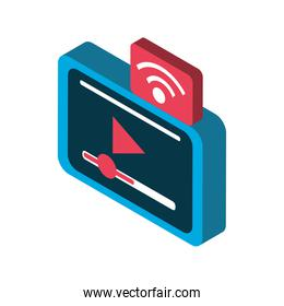 device digital internet connection video isometric icon isolated