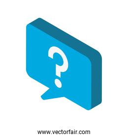 speech bubble question sign isometric icon isolated