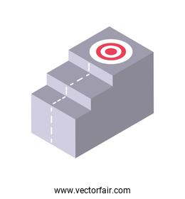 stairs target on top isometric icon isolated