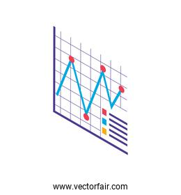 digital statistics report financial and economy data isometric icon isolated