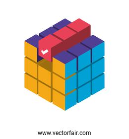 digital solutions cube process isometric icon isolated