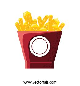 french fries food isolated icon