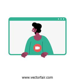 afro man character in video conference template