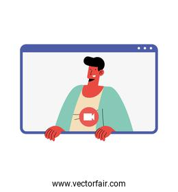 man character in video conference template