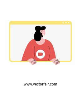 woman character in video conference template