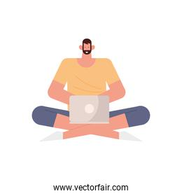 young man using laptop seated lotus character