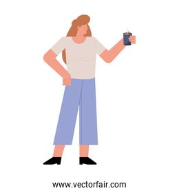 young woman drinking coffee character